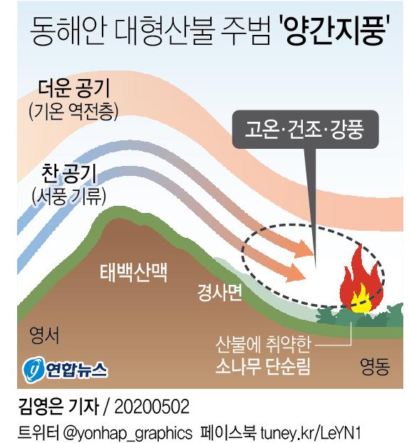 [그래픽] 동해안 대형산불 주범 '양간지풍'