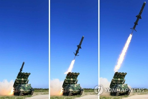 A set of photos carried by North Korea's main newspaper, the Rodong Sinmun, on June 9, 2017, shows the test-firing of a new ground-to-ship cruise missile. (Yonhap)