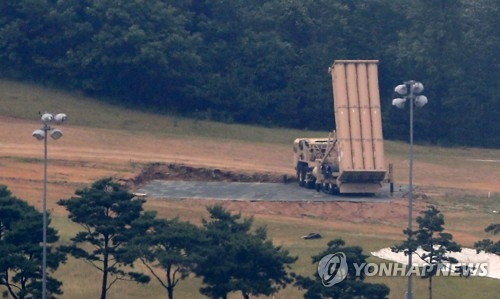 A THAAD interceptor launcher is deployed at a former golf course in Seongju, North Gyeongsang Province, on June 7, 2017. (Yonhap)