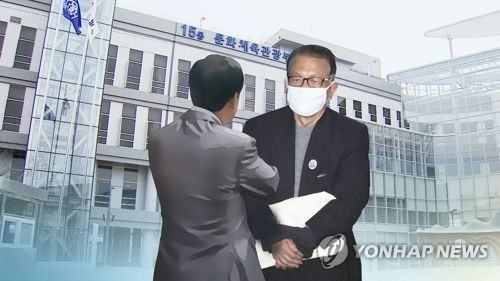 This image, provided by Yonhap News TV, shows the culture ministry building and former presidential chief of staff Kim Ki-choon. (Yonhap)