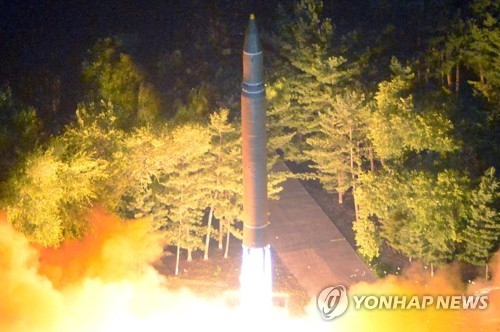 This photo unveiled by North Korea's state news agency on July 29, 2017, shows the country's test of another intercontinental ballistic missile a day earlier. (For Use Only in the Republic of Korea. No Redistribution) (Yonhap)