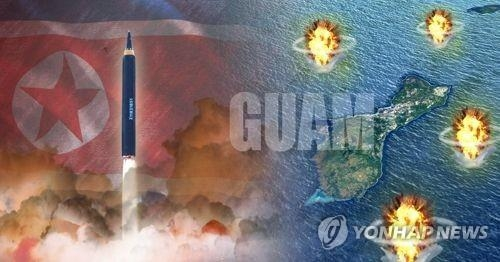 An image of North Korea's possible firing the Hwasong-12 intermediate-range ballistic missile near Guam. (Yonhap)