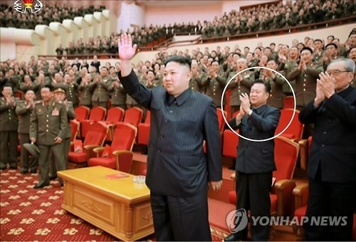In this file photo, Choe Ryong-hae (circled), applauds during a performance to mark the 70th anniversary of the founding of the North Korea's State Merited Chorus at the People's Theatre in Pyongyang on Feb. 22, 2017. (For use only in the Republic of Korea. No Redistribution) (Yonhap)