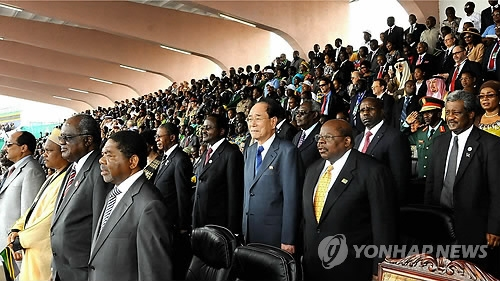 This file photo shows Kim Yong-nam (2nd from R in 2nd row), North Korea's No. 2 leader, attending a ceremony to mark the 50th anniversary of national independence in Tanzania in 2011. (Yonhap)