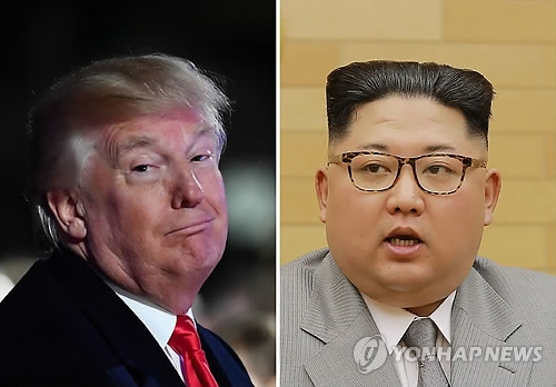 This compilation image shows an AFP file photo of U.S. President Donald Trump (L) and North Korean leader Kim Jong-un. (Yonhap)