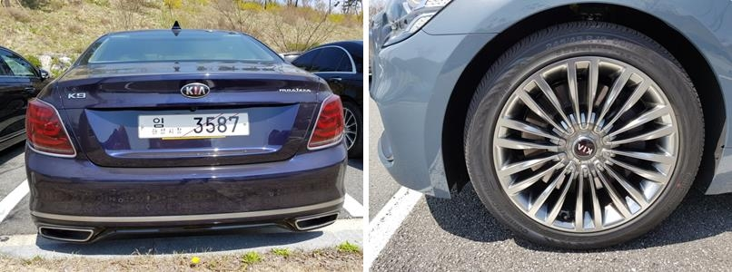 This photos taken on April 17, 2018 show the rear side of the K9 sedan (L) and the 19-inch Continental tires. (Yonhap)