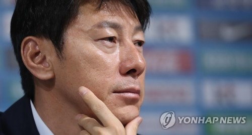 In this file photo taken May 2, 2018, South Korea national football team head coach Shin Tae-yong listens to a reporter's question during a press conference at the Korea Football Association House in Seoul. (Yonhap)