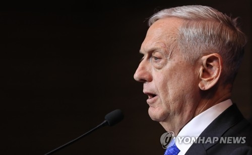 This photo taken on Oct. 28, 2017, shows U.S. Secretary of Defense James Mattis speaking during a press conference in Seoul. (Yonhap)