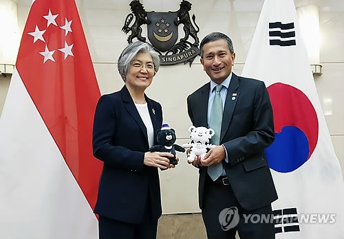 South Korean Foreign Minister Kang Kyung-wha (L) and her Singaporean counterpart, Vivian Balakrishnan, pose for a photo during their meeting in Seoul on March 8, 2018, in this photo provided by Kang's ministry. (Yonhap)