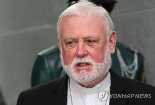 Archbishop Paul Richard Gallagher, the Vatican's secretary for relations with states, speaks during his visit to the Joint Security Area near the tense inter-Korean border on July 5, 2018. (Yonhap)