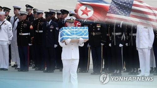 This image, provided by Yonhap News TV, shows a ceremony marking the repatriation of the remains of U.S. troops. (Yonhap)