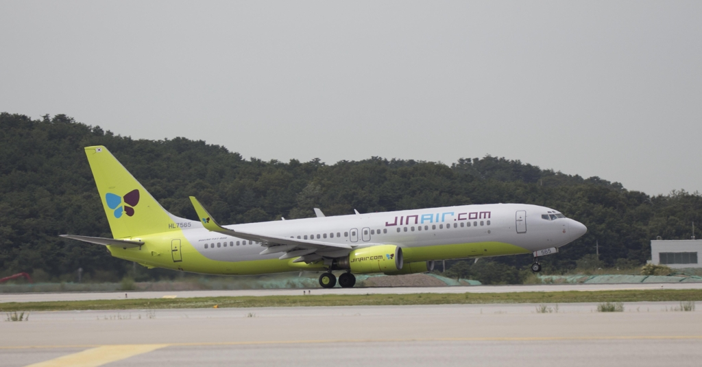 This photo provided by Jin Air Co. shows its B737-800 passenger jet. (Yonhap)
