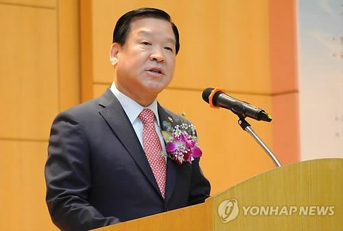 Ki Chan-soo, the commissioner of the Military Manpower Administration, speaks during a ceremony marking the foundation of the administration in Seoul on Aug. 20, 2018, in this photo provided by his office. (Yonhap)