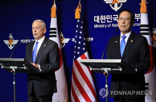 This photo, taken on Oct. 28, 2017, shows then South Korean Defense Minister Song Young-moo and his U.S. counterpart, James Mattis, during a press conference after their Security Consultative Meeting in Seoul. (Yonhap)