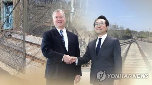This combined image of Lee Do-hoon (R), special representative for Korean Peninsula peace and security affairs at South Korea's foreign ministry, and his U.S. counterpart, Stephen Biegun of the U.S. State Department, was provided by Yonhap News TV. (Yonhap)