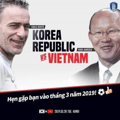 This image captured from the Korea Football Association's Instagram page shows the promotional poster for a friendly match between South Korea and Vietnam scheduled for March 26, 2019, in Hanoi. On the left is South Korea head coach Paulo Bento, opposite his Vietnam counterpart Park Hang-seo. (Yonhap)