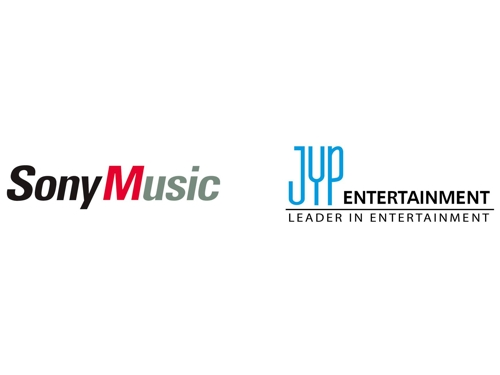 These logos of Sony Music and JYP Entertainment are provided by JYP. (Yonhap)