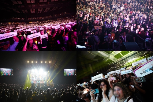 These images, of Red Velvet fans during a concert in Newark, are provided by SM Entertainment. (Yonhap)