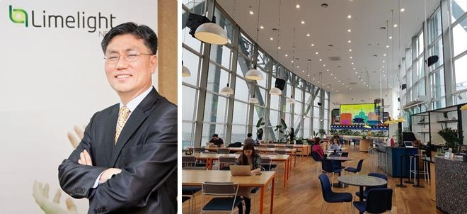 These photos taken March 5, 2019, show Kim Kwang-sik (L), group vice president of Limelight Networks' Asia-Pacific operations, and the WeWork Jongno Tower co-working space in Seoul. (Yonhap)