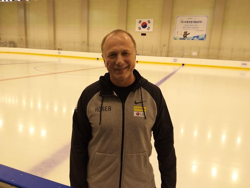 Sergei Nemchinov, an assistant coach for the South Korean men's national hockey team, poses for a picture at Jincheon National Training Center in Jincheon, 90 kilometers south of Seoul, on April 8, 2019. (Yonhap)