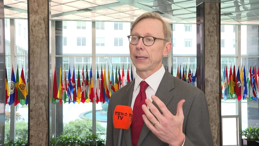 U.S. Special Representative for Iran Brian Hook speaks to Yonhap News Agency and Yonhap News TV at the Department of State in Washington on April 22, 2019. (Yonhap)