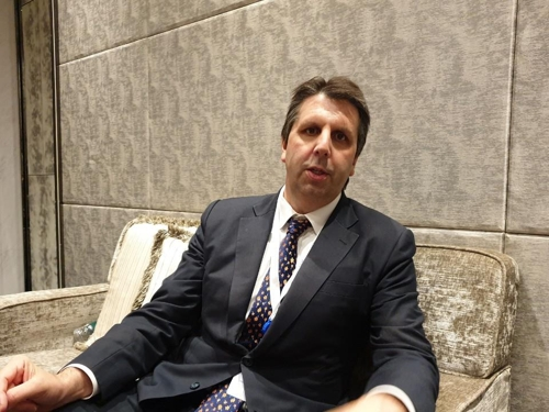 Mark Lippert, a former U.S. ambassador to Seoul, speaks during an interview with Yonhap News Agency in Singapore on June 1, 2019. (Yonhap)