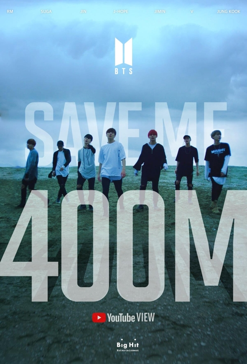 "This image celebrating the hitting of the milestone of 400 million YouTube views by the music video of the BTS song ""Save ME"" is provided by Big Hit Entertainment. (PHOTO NOT FOR SALE) (Yonhap)"