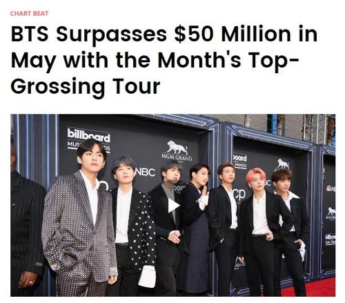 BTS garners more than $50 million from stadium tours in May