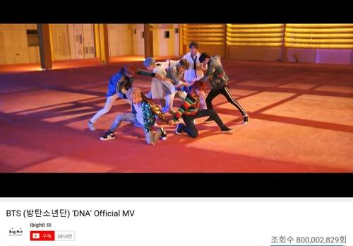 "This image of the music video of BTS' ""DNA"" was captured from YouTube. (PHOTO NOT FOR SALE) (Yonhap)"