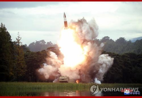 "This photo, carried by North Korea's Central News Agency on Aug. 17, 2019, shows the test of a ""new weapon"" a day earlier. The projectile is believed to be the North Korean version of the U.S.' Army Tactical Missile System (ATACMS). (For Use Only in the Republic of Korea. No Redistribution) (Yonhap)"