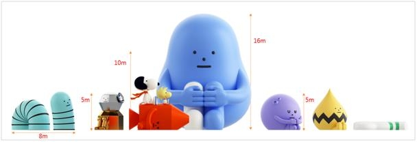 This image provided by Lotte Museum shows the sizes of the figures that will go on display in the Luna Project with Sticky Monster Lab exhibition. (PHOTO NOT FOR SALE) (Yonhap)