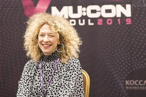 This image of Nicole Frantz, head of Capitol Music Group's Creative Services, during a press conference in Seoul on Oct. 1, 2019, is provided by the Korea Creative Content Agency. (PHOTO NOT FOR SALE) (Yonhap)