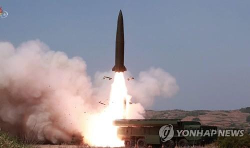 In this image, captured from the Korean Central TV Broadcasting Station on May 5, 2019, a weapon of similar appearance to Russia's tactical ballistic missile, the Iskander, is fired the previous day. (For Use Only in the Republic of Korea. No Redistribution) (Yonhap)