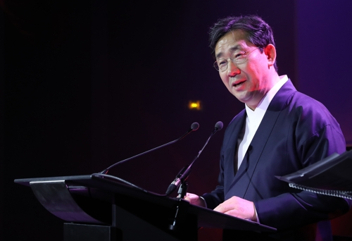 This photo provided by the Ministry of Culture, Sports and Tourism shows Culture Minister Park Yang-woo speaking during a ceremony marking the reopening of Paris Korea Center on Nov. 20, 2019. (PHOTO NOT FOR SALE) (Yonhap)