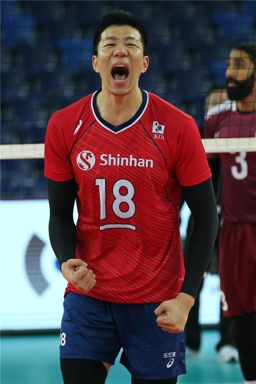 In this photo provided by FIVB on Jan. 9, 2020, Shin Yung-sik of South Korea celebrates a point against Qatar in the teams' Pool B match of the Asian Olympic men's volleyball qualification tournament at Jiangmen Sports Center Gymnasium in Jiangmen, China. (PHOTO NOT FOR SALE) (Yonhap)