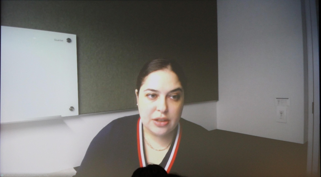 This photo, provided by Google Inc., shows scientist Carla Bromberg talking to reporters in Seoul via video conference on Feb. 4, 2020. (PHOTO NOT FOR SALE) (Yonhap)