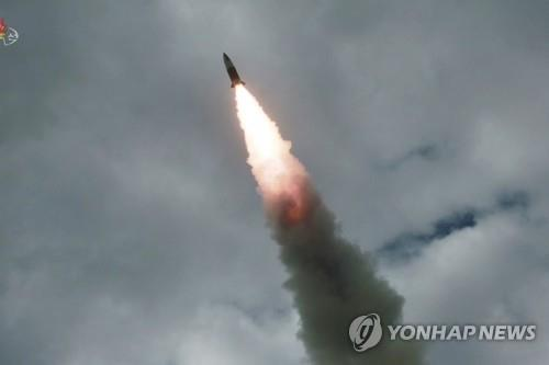 A projectile, believed to be the North Korean version of the U.S.' Army Tactical Missile System, is launched on Aug. 16, 2019, in this file photo released by the North's official Korean Central News Agency. North Korea fired two short-range projectiles from a western region toward the East Sea on Sept. 10, 2019, South Korea's military said, just hours after the North offered to resume nuclear talks with the United States. (For Use Only in the Republic of Korea. No Redistribution) (Yonhap)