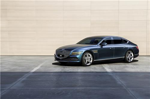 This undated file photo provided by Hyundai Motor shows the all-new Genesis G80 sedan. (PHOTO NOT FOR SALE)(Yonhap)