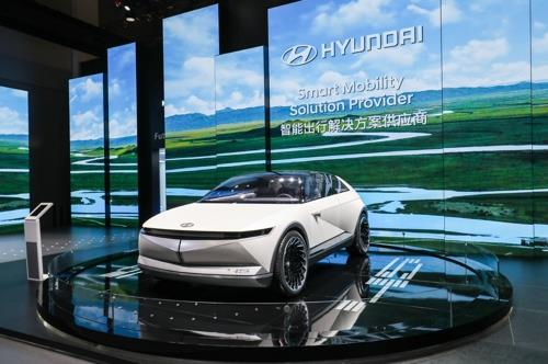 This photo, taken on Nov. 5, 2019, and provided by Hyundai Motor Group, shows Hyundai Motor's EV concept 45 displayed at the China International Import Expo. (PHOTO NOT FOR SALE) (Yonhap)
