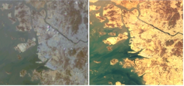 This compilation image provided by the science ministry shows Gyeonggi Bay, west of Seoul, and the bridge that connects the mainland to Incheon International Airport on Yeongjong Island. The right image was sent back by the Chollian-2B, while the left is from the Chollian-1. (PHOTO NOT FOR SALE) (Yonhap)