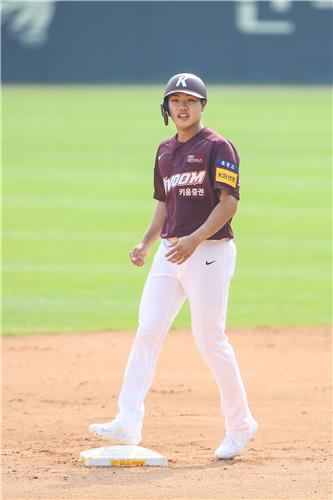 Byeon Sang-kwon of the Kiwoom Heroes stands on second base after hitting a double against the LG Twins during a Korea Baseball Organization regular season game at Jamsil Stadium on May 17, 2020, in this photo provided by the Heroes. (PHOTO NOT FOR SALE) (Yonhap)