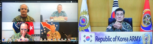 (LEAD) Army chief shares coronavirus experience with foreign military leaders