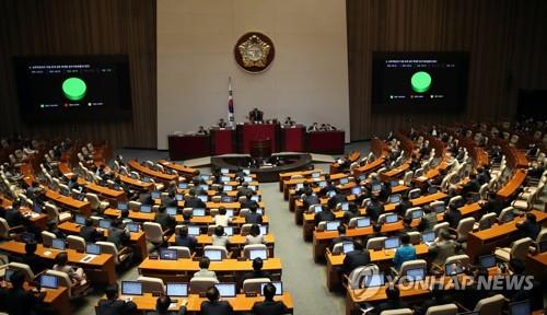 The National Assembly convenes a plenary session to vote on a 12.2 trillion-won (US$10 billion) extra budget and other bills on April 29, 2020. (Yonhap)