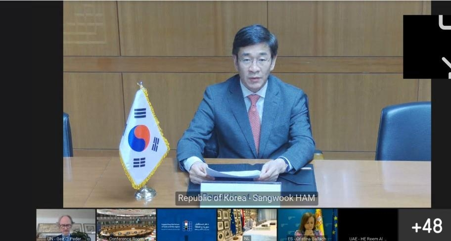 Ham Sang-wook, deputy foreign minister for multilateral and global affairs, speaks during a virtual session in Seoul of the Fourth Brussels Conference on Supporting the Future of Syria and the Region, in this photo provided by the foreign ministry on June 30, 2020. (PHOTO NOT FOR SALE) (Yonhap)