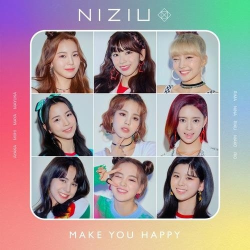 "Cover art for girl group NiziU's pre-debut single ""Make You Happy"" provided by JYP Entertainment (PHOTO NOT FOR SALE) (Yonhap)"