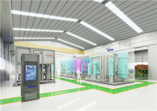 This rendering, provided by Hyundai Rotem, shows the company's hydrogen reformer plant to be built at its R&D center in Uiwang, just south of Seoul. (PHOTO NOT FOR SALE) (Yonhap)