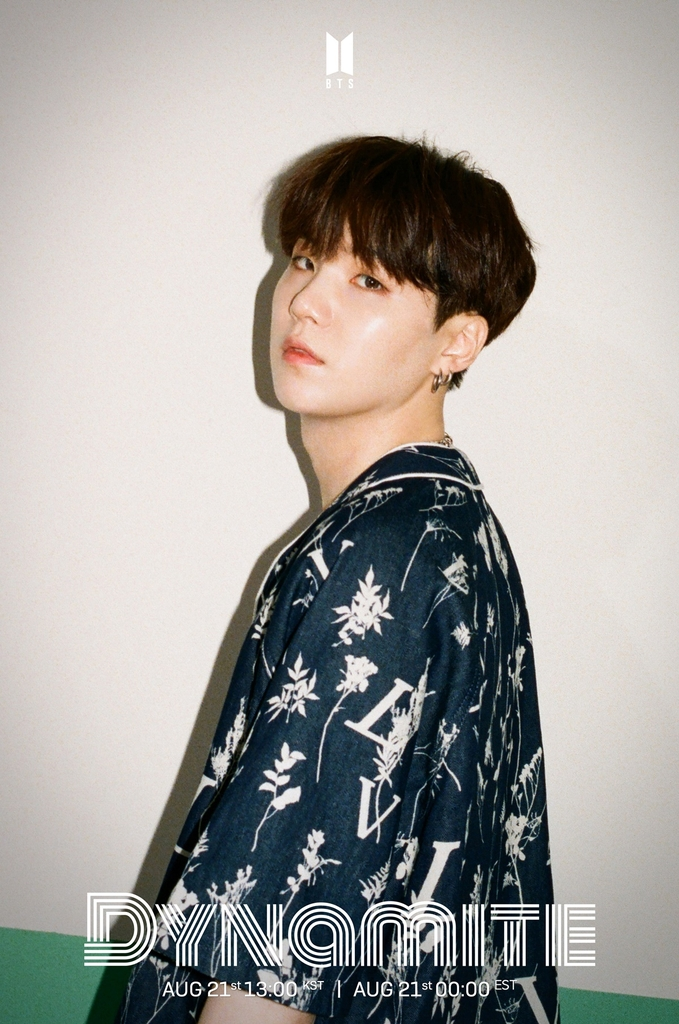 "A teaser image for K-pop group BTS' upcoming single album ""Dynamite,"" featuring member Suga. Photo provided by Big Hit Entertainment on Aug. 11, 2020. (PHOTO NOT FOR SALE) (Yonhap)"