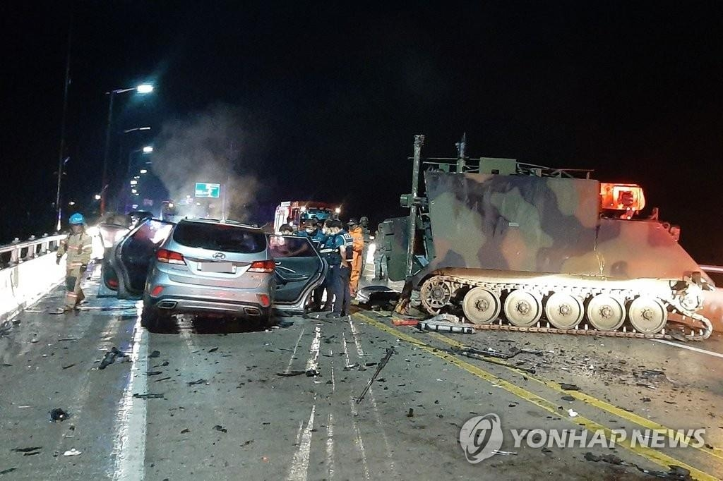 The photo provided by the Gyeonggi Northern Fire Department shows the scene of an accident on Aug. 30, 2020, in Pocheon, South Korea. (PHOTO NOT FOR SALE) (Yonhap)