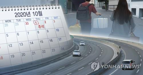 This composite photo shows an uncrowded expressway, the Chuseok holiday marked in a calendar and hometown visitors. (Yonhap)