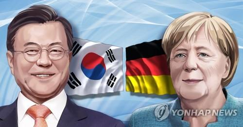 This illustrated image shows President Moon Jae-in (L) and German Chancellor Angela Merkel. (Yonhap)